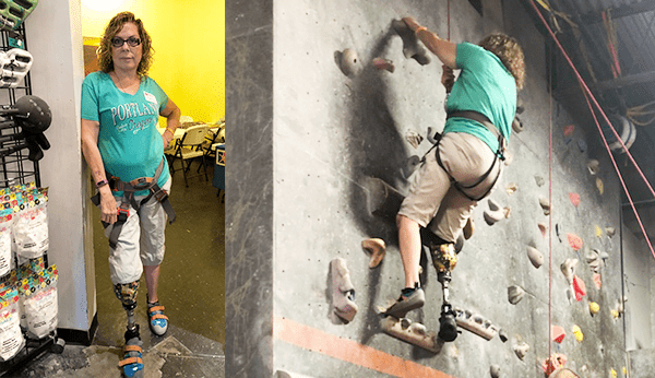 Female leg amputee weating prosthetic leg, rock climbing
