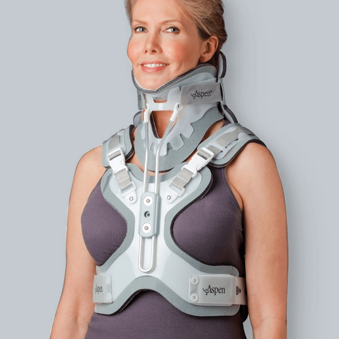 woman with a spinal brace