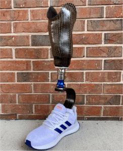 Prosthetic Leg with shoe, made of basalt fiber