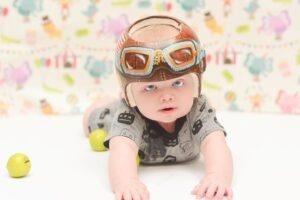 baby in cranial remolding helmet